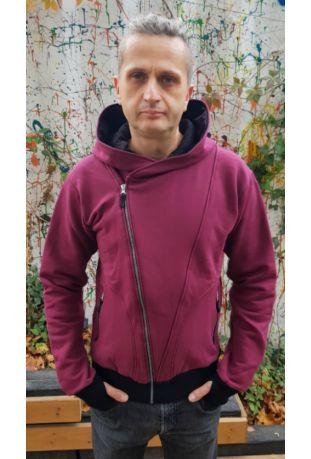 The Bassman Bio-Baumwolle Zip off Herren sweatshirt burgundy