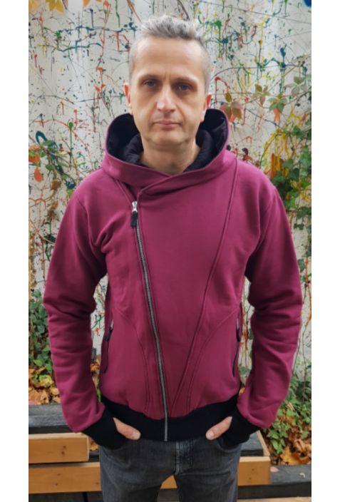 The Bassman bluza męska burgundy bawełna organiczna
