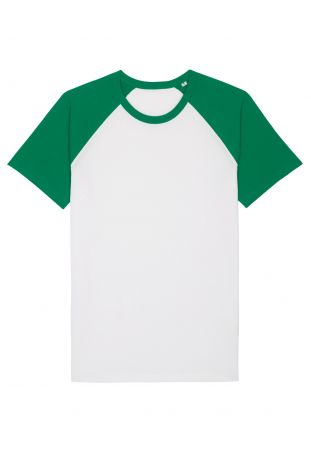 SLOGAN BASIC BASEBALL KOSZULKA MĘSKA WHITE/GREEN BAWEŁNA ORGANICZNA