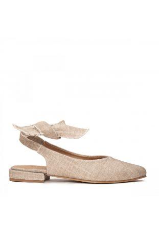 Nae Beth - Pointed Toe Organic Cotton Beige wegańskie buty damskie