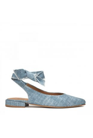 Nae Beth - Pointed Toe Organic Cotton Blue wegańskie buty damskie