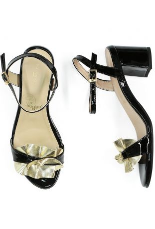 Will's Ruffle Sandals Patent Black & Gold