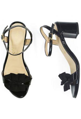 Will's Ruffle Sandals Patent Black Wegańskie Sandały Damskie