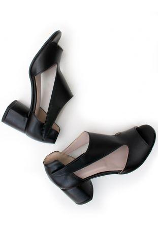 Will's Peep Toe Sandals Patent Black Wegańskie Sandały Damskie