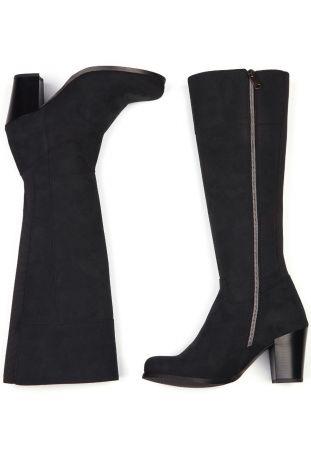 Will's Heeled Knee High Boots Black Wegańskie Kozaki Damskie