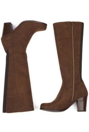 Will's Heeled Knee High Boots Dark Brown Wegańskie Kozaki Damskie