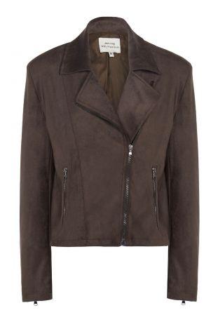 Will's Vegan Suede Biker Jacket Dark Brown