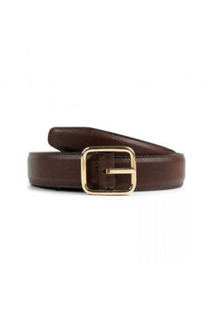 WILL'S Vegan Geometric 3cm Belt Dark Brown