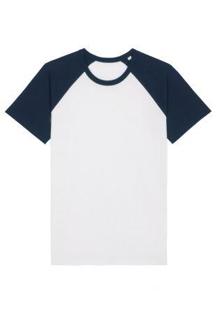 SLOGAN BASIC BASEBALL HEREN T-SHIRT WHITE/DARK BLUE BIO-BAUMWOLLE