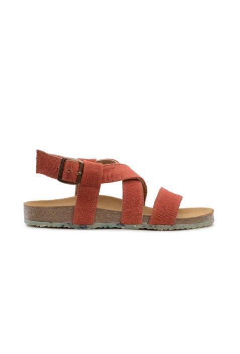 Zouri Sand Flame wegańskie sandały damskie. Recyklingowany len