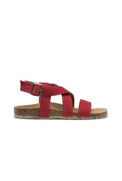 Zouri Sand Red wegańskie sandały damskie. Recyklingowany len