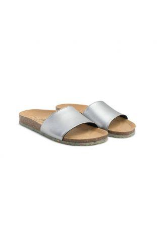 Zouri WAVE Silver vegan sandals. Apple leather.