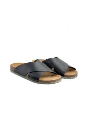Zouri SUN Black vegan sandals. Apple leather.