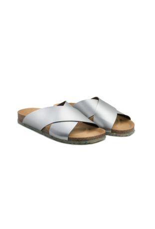 Zouri SUN Silver vegan sandals. Apple leather.