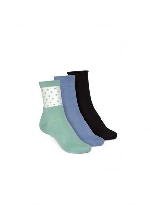 ThokkThokk 3 Pack Mid Socks Black Relax/Ironblue/Cabbage Dots Fairtrade & GOTS Bio Baumwolle
