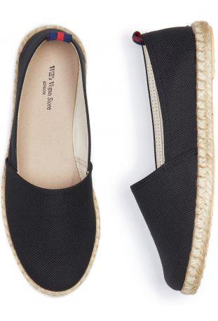 WILL'S Recycled Espadrille Loafers Black Canvas Wegańskie Espadryle Damskie