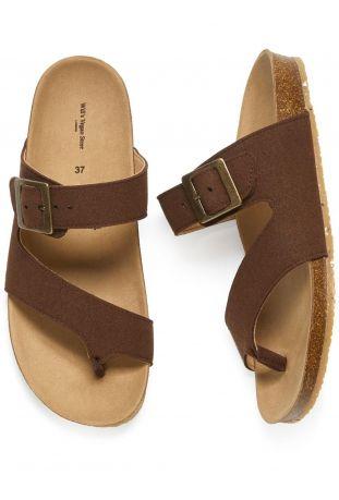WILL'S Two Strap Toe Peg Sandals Dark Brown