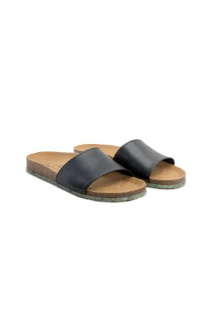 Zouri WAVE Black vegan sandals. Apple leather.