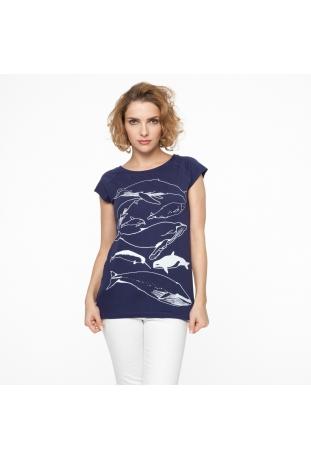 Fair Trade T-shirt damski z bawełny organicznej Whale