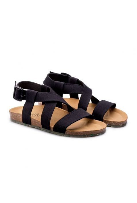 Zouri Sand Black vegan sandals