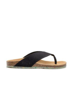 Zouri OCEAN Black vegan sandals. Fairtrade organic cotton