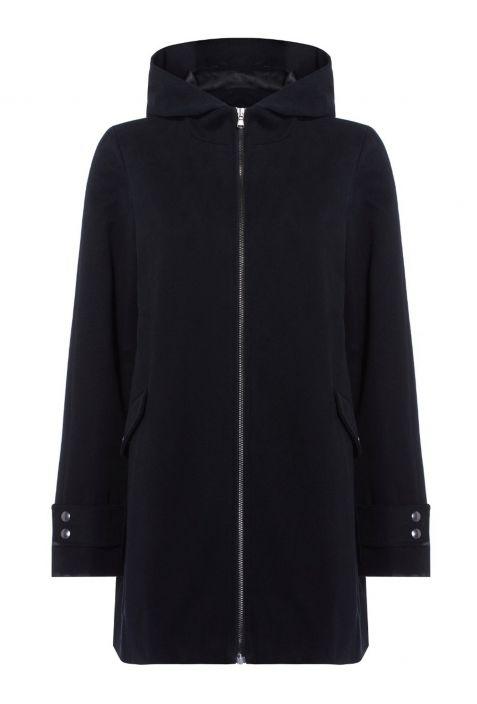 Will's Wool Hooded Coat Black Wegański Płaszcz Damski