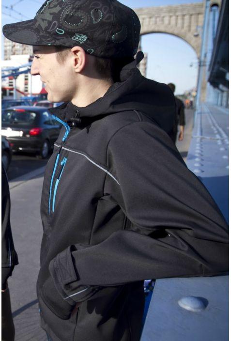 Biker kurtka damska active softshell blue zip recycled polyester
