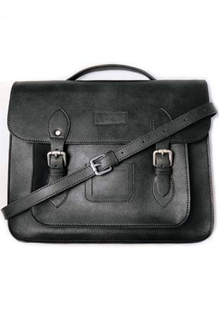 Will's 14 Inch Classic Satchel Black vegan leather