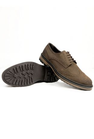 CONTINENTAL BROGUES BROWN FAUX SUEDE