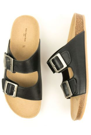WILL'S TWO STRAP FOOTBED BLACK WEGAŃSKIE SANDAŁY
