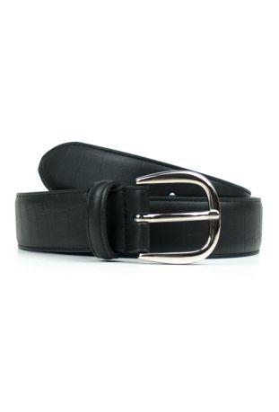 WILL'S Vegan D-Ring 3cm Belt Tooled Black