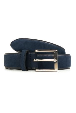 WILL'S Vegan Continental 3.5cm Belt Dark Blue