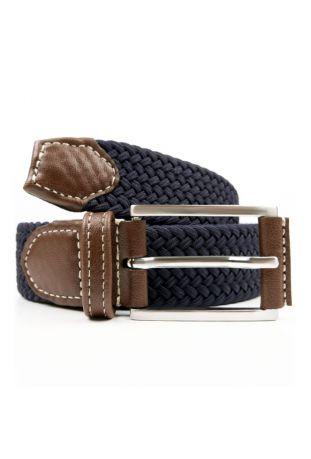 WILL'S Vegan 3.5cm Woven Belt Dark Blue