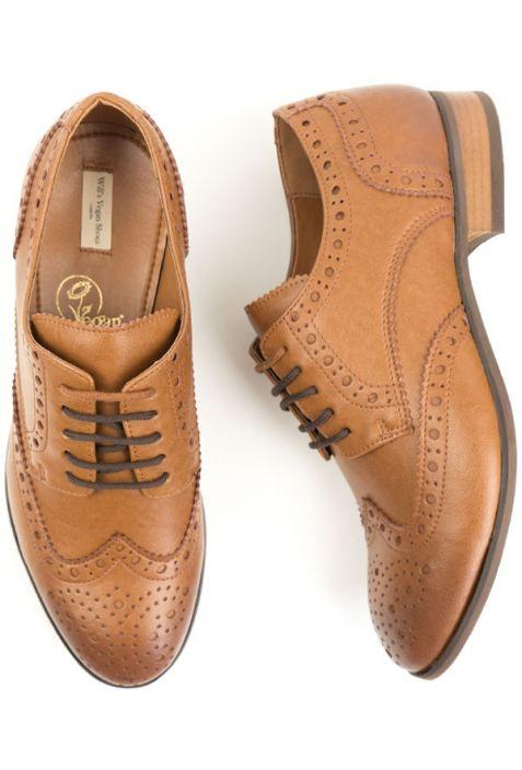 Will's City Wingtip Brogue Oxfords wegańskie buty męskie tan
