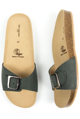 Will's Single Strap Footbed Sandals Green Vegan Suede