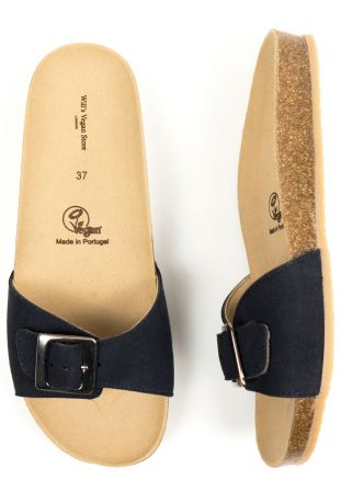 Will's Single Strap Footbed Sandals Dark Blue Vegan Suede