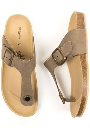 Will's Toe Peg Footbed Sandals Taupe Vegan Suede