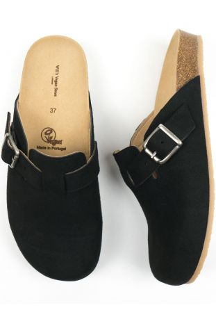 Will's Clog Footbed Sandals Black Vegan Suede