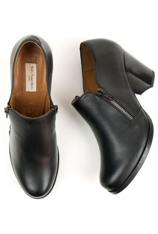 Will's Zip Heels Black Wegańskie Buty Damskie