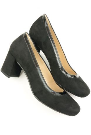 Will's Block Heels Black Vegan Suede